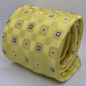 DONALD TRUMP Yellow Men Blue & White Geometric Tie
